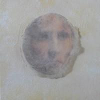 dromen van charlotte - schelp en kleurenafdruk met acryl op karton 12 x 13 cm